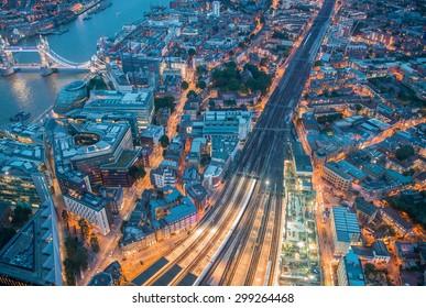 Night aerial view of London railway