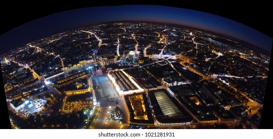 Night aerial view. Moscow center. Red square and the kremlin at night. View from above. City lights. Night panoramic shot made on summer 2017