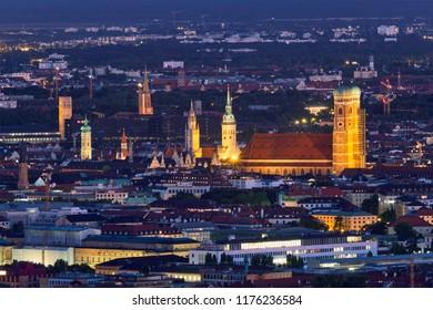 Night aerial view of Munich from Olympiaturm (Olympic Tower). Munich, Bavaria, Germany
