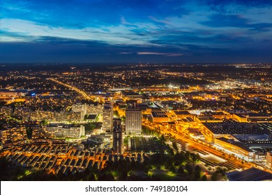 Night aerial view of Munich from Olympiaturm (Olympic Tower). Munich, Bavaria, Germany