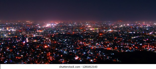 Night aerial view of Udaipur City. One of main tourist center of India, half a million inhabitants, many historical and architectural centers have illumination, brightening of building illumination