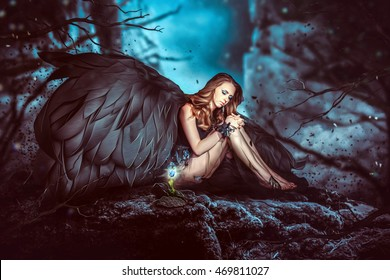 Night angel girl with dark wings, sits on rock at flower. Art style
