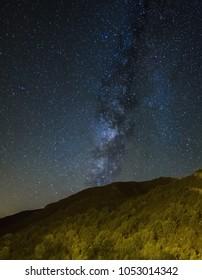Night  astrophotography. Milky Way over Vall de Boi, Lleida, Catalunya, Spain