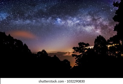 Night astrophotography: Panoramic view of Milky Way over a cloud sea within Calderas de Taburiente National Park, la Palma, Canary islands, Spain