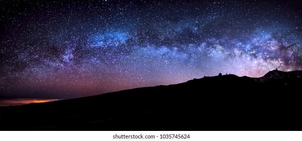 Night astrophotography: Panoramic view of the Milky Way over  Roque de los Muchachos astronomical observatory, la Palma, Canary islands, Spain
