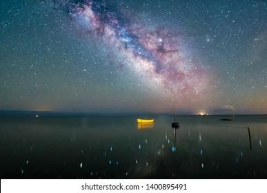 Night Astrophotography: View of  Milky way over the Mediterranean sea in Delta de Ebro natural park, Tarragona, Catalonia, Spain
