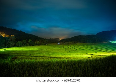 Night atmosphere of rice field at Mae Chaem, Chiang mai, Thailand