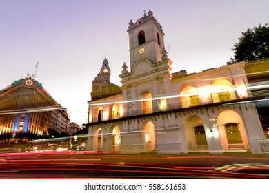 Night automobile traffic front of the Cabildo of Buenos Aires, near Plaza de Mayo. Buenos Aires, Argentina. January 4, 2017