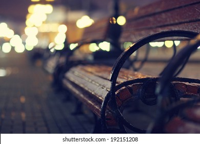 night, autumn bench city