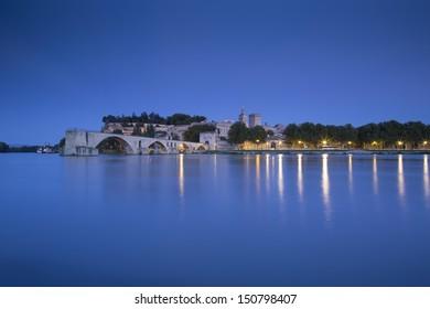 Night at Avignon Bridge with Popes Palace, Pont Saint-Benezet, Provence, France