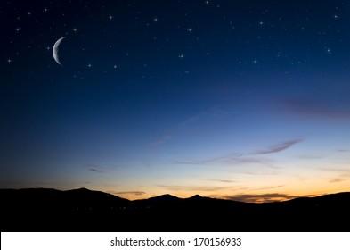 Night Sky Moon Images Stock Photos Vectors Shutterstock