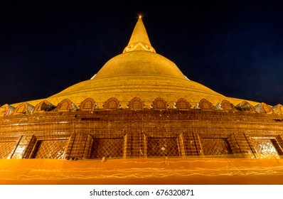 Night beautiful pagoda Thailand, Buddhist traditionally lighting of candle walk on Visakha Puja Day