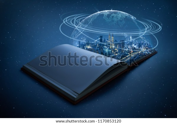 Night beautiful scene of modern city skyline pop up in the open book pages with Global world telecommunication network connected around planet Earth .