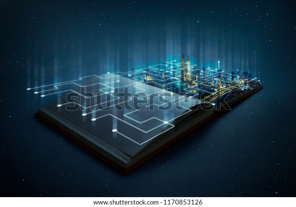 Night beautiful scene of modern city skyline pop up in the open book pages with smart working data wireless connections iot automation system .
