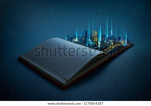Night beautiful scene of modern city skyline pop up in the open book pages with smart big data  wireless connections iot automation system .