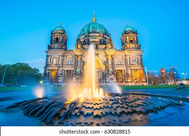 Night at Berlin Cathedral in Berlin, Germany.