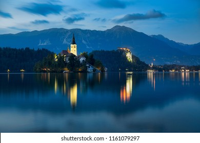 Night at Bled, Slovenia, with Lake Bled, Bled Island, and Bled Castle