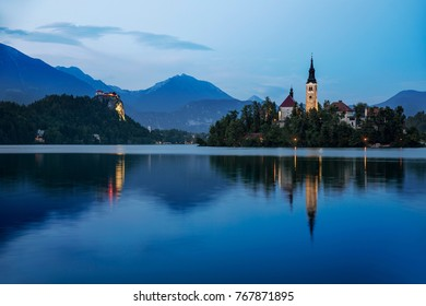 Night at Bled, Slovenia, with Lake Bled, Bled Island,