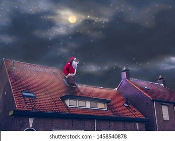 Night, blue dark sky with stars. Santa Claus sitting in a chimney and looking at distance.