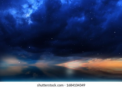 night blue  sky , fluffy clouds and  pink  sunset nature ,epic  dramatic skyline ,weather forecast background
