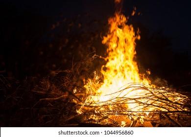 Night bonfire close up. Lag ba'omer