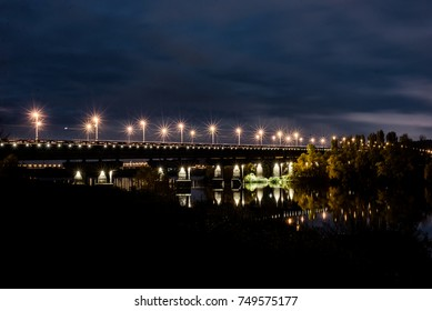 Night bridge. Night landscape. The Kiev Bridge of Paton.