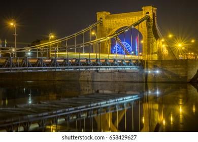 Night bridge with long exposure