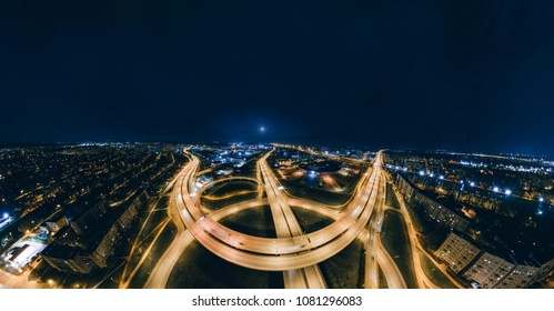 Night bridge roads in Riga city 360 VR Drone picture for Virtual reality, Panorama