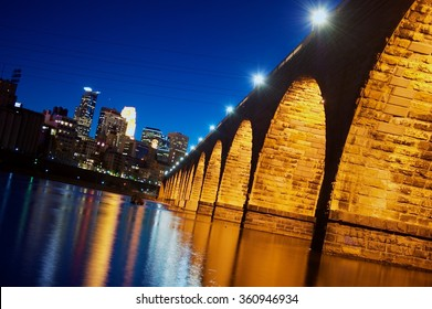 Night Bridge with yellow light