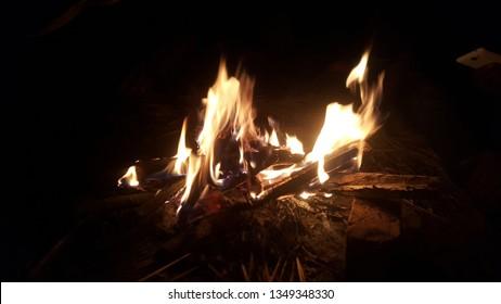 Night camp fire. Picnic camp fire