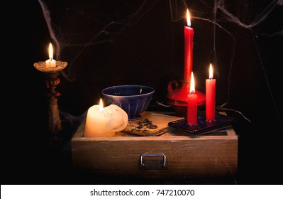 night and candle - divination of wax - polish tradition  - divination from  wax - evening predictions on the eve of St. Andrew