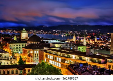 Night capture of Zurich (Switzerland) with the two main buildings of the University and the ETH (Swiss Federal Institute of Technology)