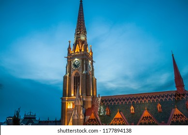 Night Cathedral in the center of Novi Sad, Serbia