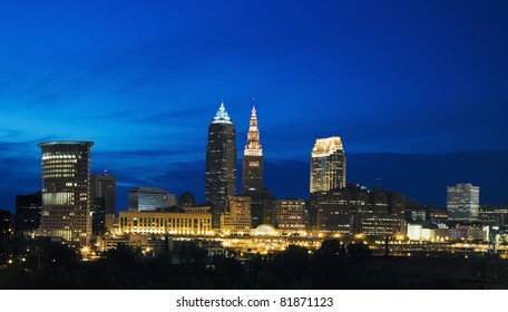Night in the center of Cleveland, Ohio