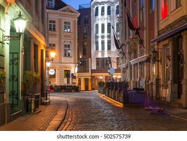 Night in center of old Riga - the capital of Latvia and famous Baltic city widely known due to its unique medieval and Gothic architecture
