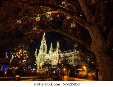 Night Christmas Market at the Vienna City Hall at Rathausplatz, Austria, Europe.