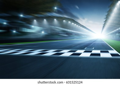 Night circuit motion blur road