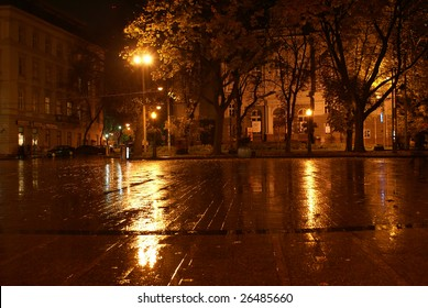 Night city after a rain