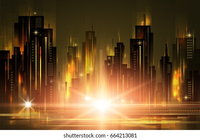 Night city background, with glowing lights