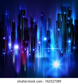 Night city background, with glowing lights, illustration