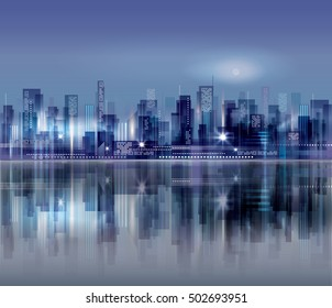 Night city background. Urban cityscape