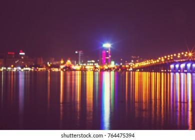 Night city Dnipro in Ukraine