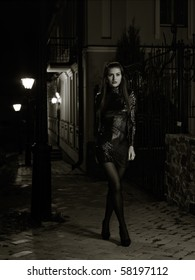 night at the city. female glamour portrait