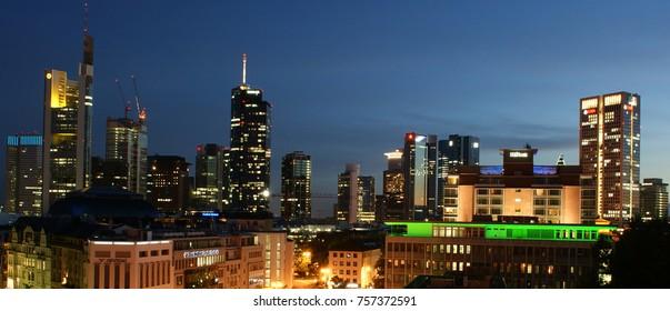 Night city / Frankfurt am Main, Germany - August 6, 2013 - Panorama of skyscrapers