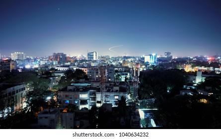 A night city with full of lights at chennai,tamilnadu, India