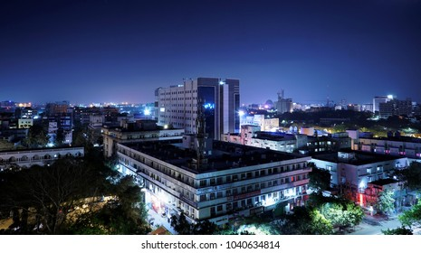 A night city with full of lights at chennai,tamilnadu, India