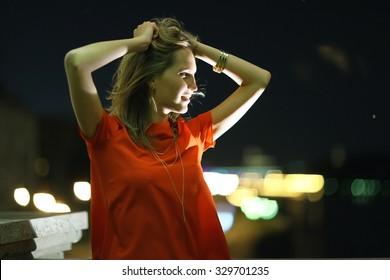 night city girl portrait