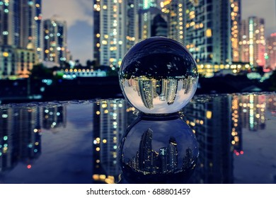 Night city in the glass ball