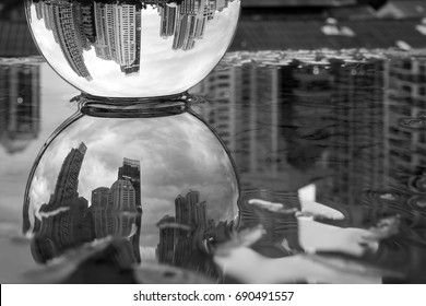 Night city in the glass ball White & Black
