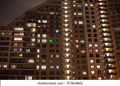 night city. high-rise building with the glowing windows